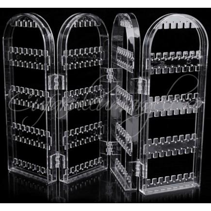 Suport acril transparent cercei pandantiv 4 parti pliabile 43x9cm