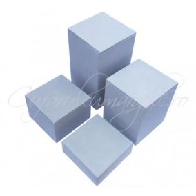 Suport bijuterii catifea gri 4 cuburi