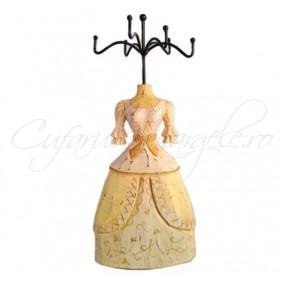 Suport bijuterii silueta rochie crem 30x13x6cm