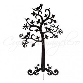 Suport metalic negru cercei copac 30x19cm