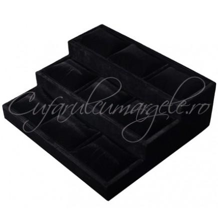 Suport trepte negru expunere ceasuri 24x26x9 cm
