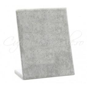 Suport vertical catifea gri 26x20cm expunere 30 perechi cercei