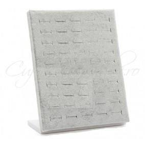 Suport vertical catifea gri 26x20cm expunere 50 inele