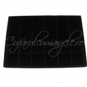 Tava velur negru 24 compartimente 35x24x3cm