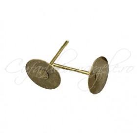 Tortite cercei bronz platou cu surub 10mm 100buc