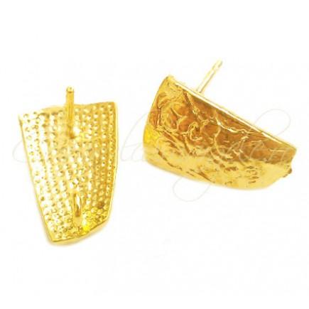 Tortite cercei scut drepte galben auriu 14x10mm
