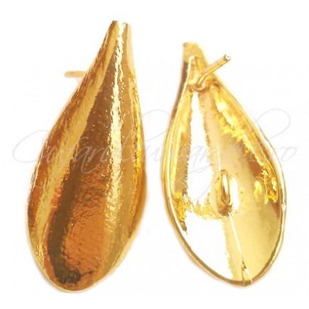 Tortite cercei scut picatura galben auriu 25x11mm