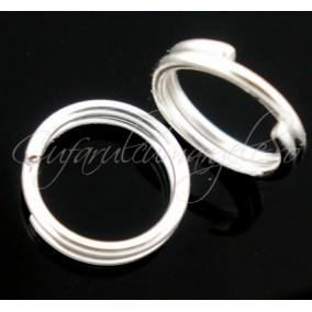 Zale duble alb argintiu 8 mm (100 zale)