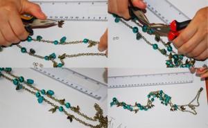 margele verzi, adaugare elemente decorative, accesorii margele, accesorii bijuterii handmade, tutorial colier verde